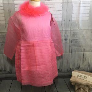 Sonia Rykiel Enfant silk organza dress w/ feathers